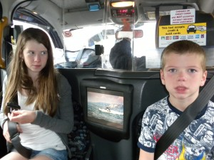 Musingsfromme.com Kids in a London Cab Taxi England