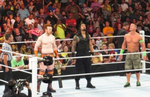 Sheamus, John Cena, and Roman Reigns before bout
