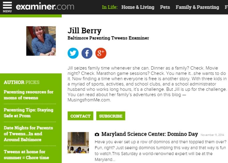 Baltimore Parenting Tweens Examiner--Header--Screenshot