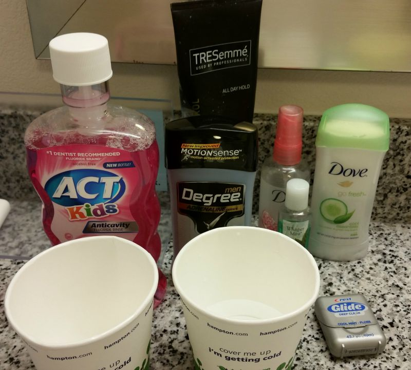 CollegeTourCation Hampton Inn Bathroom Toiletries College Tour Family Vacation Road Trip