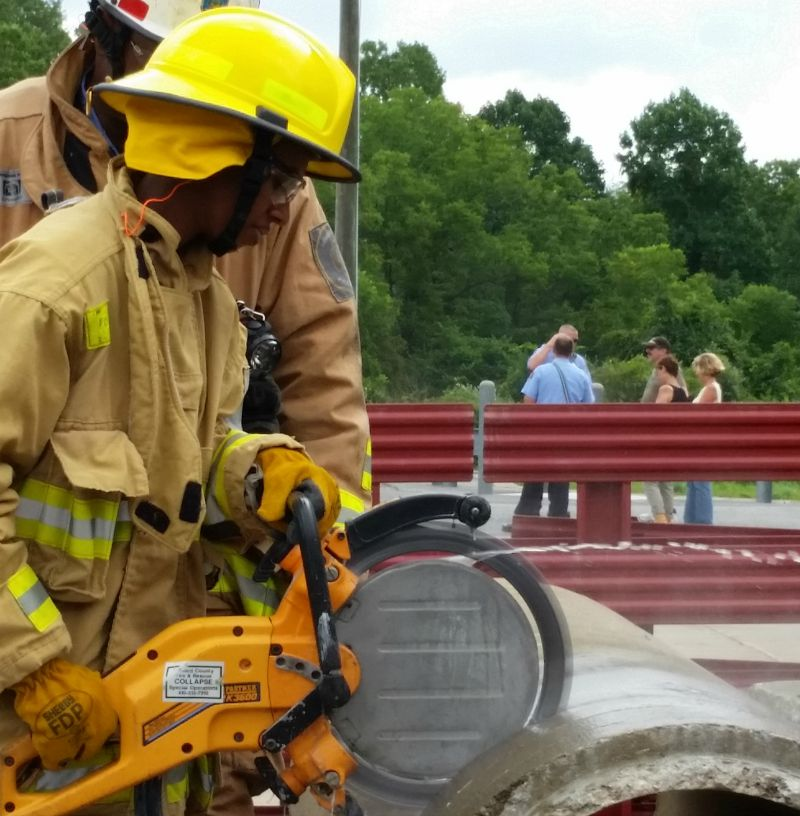 HCDFRS Howard County Fire and Rescue Serives Maryland Collapse Rescue Sawing Concrete Pipe PodPower